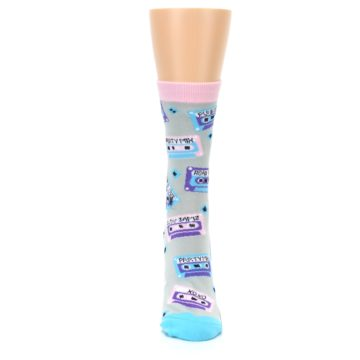 Image of Gray Pink Cassette Mix Tapes Women's Dress Sock (front-05)