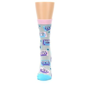 Image of Gray Pink Cassette Mix Tapes Women's Dress Sock (side-2-front-06)