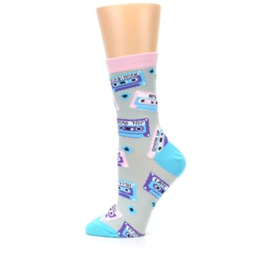 Image of Gray Pink Cassette Mix Tapes Women's Dress Sock (side-2-12)