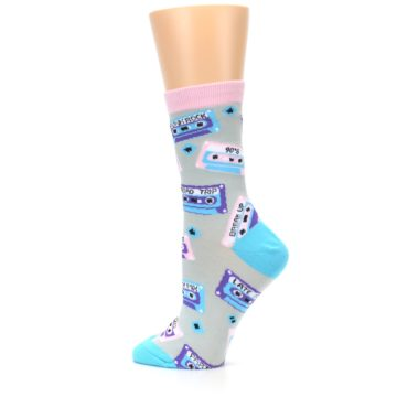 Image of Gray Pink Cassette Mix Tapes Women's Dress Sock (side-2-13)