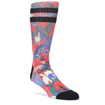 Red-Multi-Tropical-Birds-Floral-Mens-Casual-Socks-STANCE