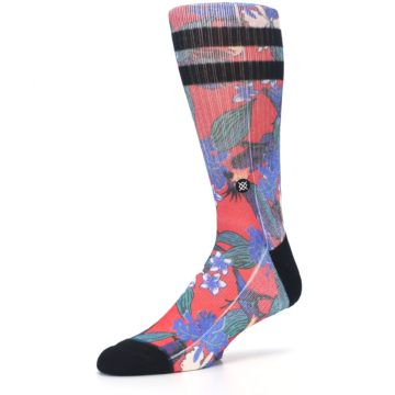 Image of Red Multi Tropical Birds & Floral Men's Casual Socks (side-2-09)