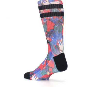 Image of Red Multi Tropical Birds & Floral Men's Casual Socks (side-2-back-14)