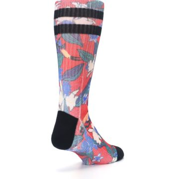 Image of Red Multi Tropical Birds & Floral Men's Casual Socks (side-1-back-21)