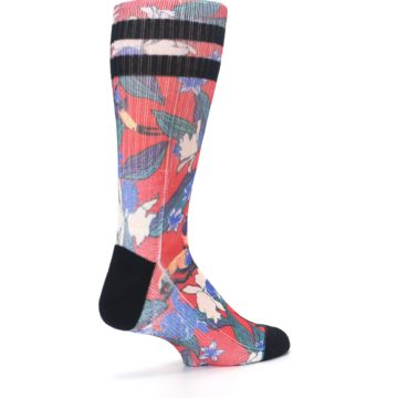 Image of Red Multi Tropical Birds & Floral Men's Casual Socks (side-1-back-22)