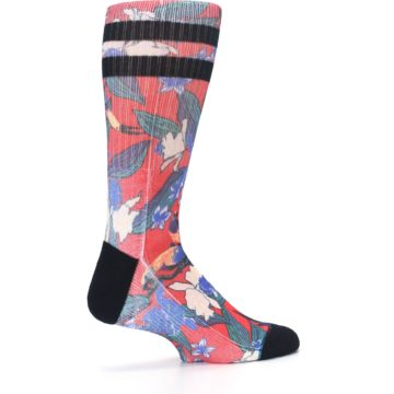 Image of Red Multi Tropical Birds & Floral Men's Casual Socks (side-1-23)