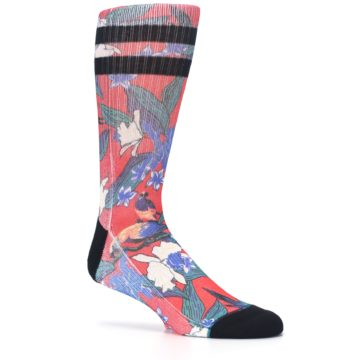 Image of Red Multi Tropical Birds & Floral Men's Casual Socks (side-1-26)