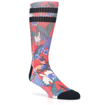 Image of Red Multi Tropical Birds & Floral Men's Casual Socks (side-1-27)