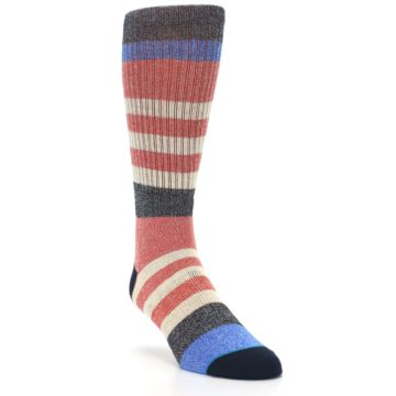 Image of Red Cream Stripe Men's Casual Socks (side-1-front-02)