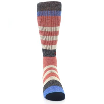 Image of Red Cream Stripe Men's Casual Socks (front-04)