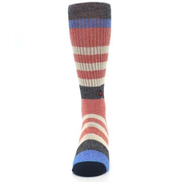 Image of Red Cream Stripe Men's Casual Socks (front-05)
