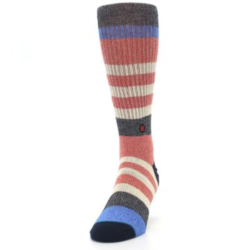 Image of Red Cream Stripe Men's Casual Socks (side-2-front-06)
