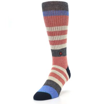 Image of Red Cream Stripe Men's Casual Socks (side-2-front-07)