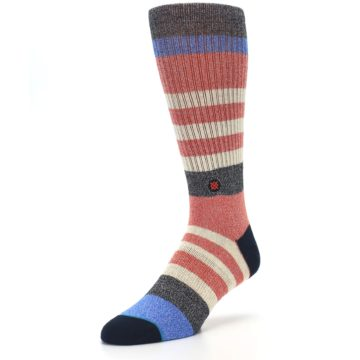 Image of Red Cream Stripe Men's Casual Socks (side-2-front-08)