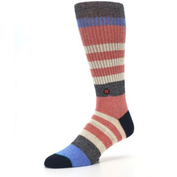 Image of Red Cream Stripe Men's Casual Socks (side-2-09)