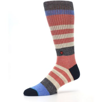 Image of Red Cream Stripe Men's Casual Socks (side-2-10)
