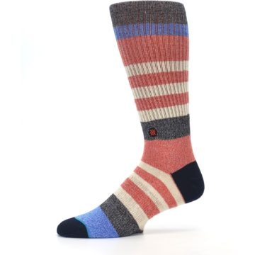Image of Red Cream Stripe Men's Casual Socks (side-2-11)