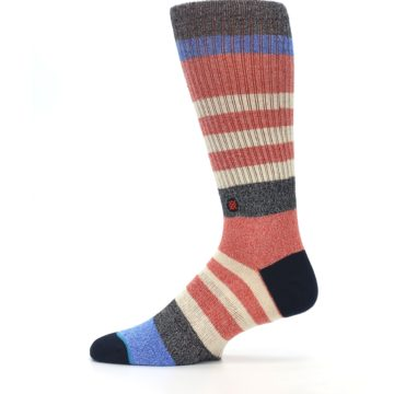 Image of Red Cream Stripe Men's Casual Socks (side-2-12)