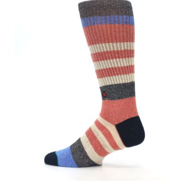 Image of Red Cream Stripe Men's Casual Socks (side-2-13)
