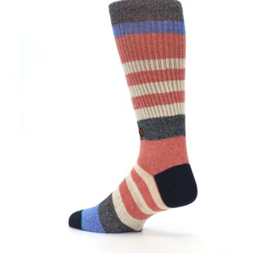 Image of Red Cream Stripe Men's Casual Socks (side-2-back-14)
