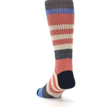 Image of Red Cream Stripe Men's Casual Socks (side-2-back-16)