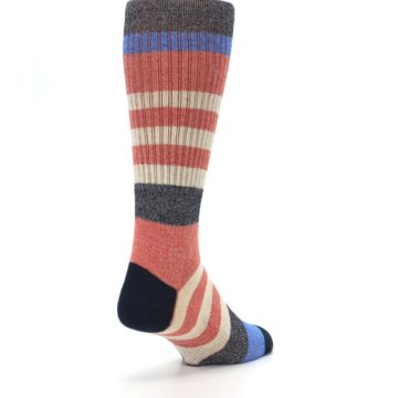 Image of Red Cream Stripe Men's Casual Socks (side-1-back-21)