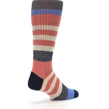 Image of Red Cream Stripe Men's Casual Socks (side-1-back-22)