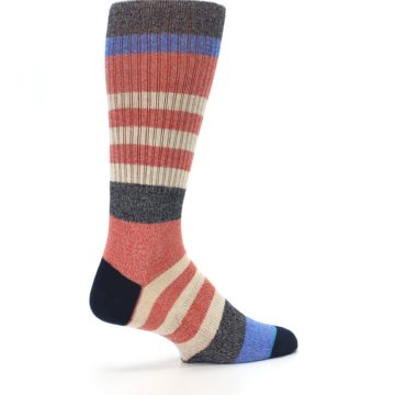 Image of Red Cream Stripe Men's Casual Socks (side-1-23)