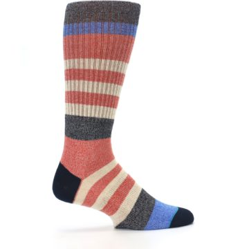 Image of Red Cream Stripe Men's Casual Socks (side-1-24)