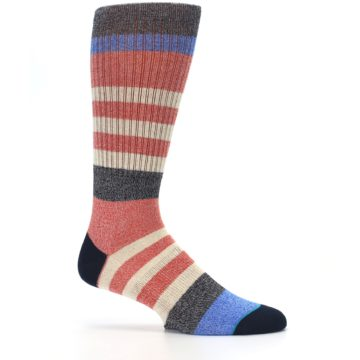 Image of Red Cream Stripe Men's Casual Socks (side-1-25)
