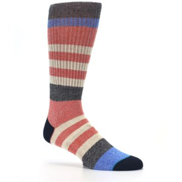 Image of Red Cream Stripe Men's Casual Socks (side-1-26)