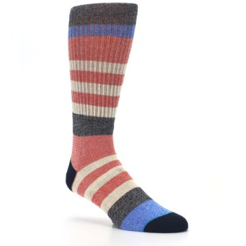 Image of Red Cream Stripe Men's Casual Socks (side-1-27)