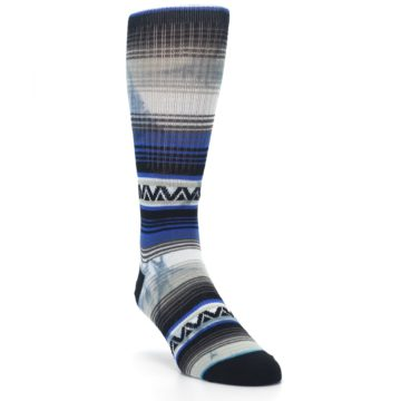 Image of Blue Gray Mexi Stripe Men's Casual Socks (side-1-front-02)