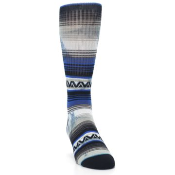 Image of Blue Gray Mexi Stripe Men's Casual Socks (side-1-front-03)