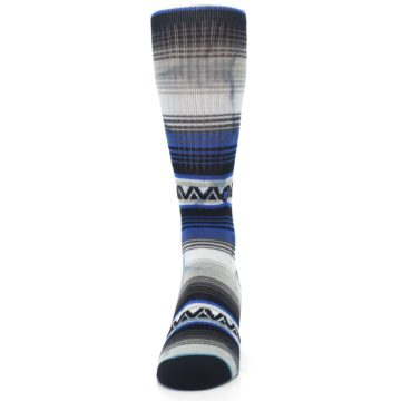 Image of Blue Gray Mexi Stripe Men's Casual Socks (front-05)