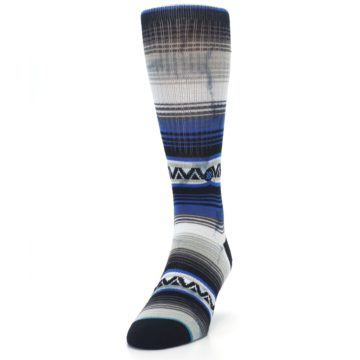Image of Blue Gray Mexi Stripe Men's Casual Socks (side-2-front-06)