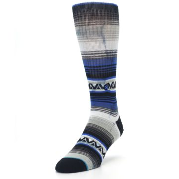 Image of Blue Gray Mexi Stripe Men's Casual Socks (side-2-front-07)