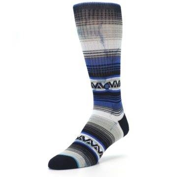 Image of Blue Gray Mexi Stripe Men's Casual Socks (side-2-front-08)