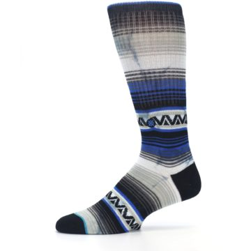 Image of Blue Gray Mexi Stripe Men's Casual Socks (side-2-11)