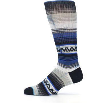 Image of Blue Gray Mexi Stripe Men's Casual Socks (side-2-12)