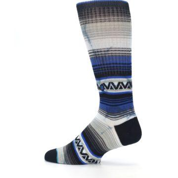 Image of Blue Gray Mexi Stripe Men's Casual Socks (side-2-13)