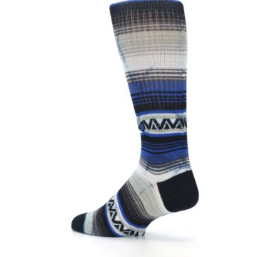 Image of Blue Gray Mexi Stripe Men's Casual Socks (side-2-back-14)