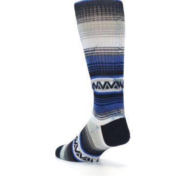 Image of Blue Gray Mexi Stripe Men's Casual Socks (side-2-back-15)