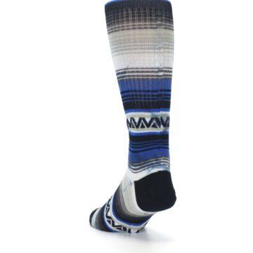 Image of Blue Gray Mexi Stripe Men's Casual Socks (side-2-back-16)