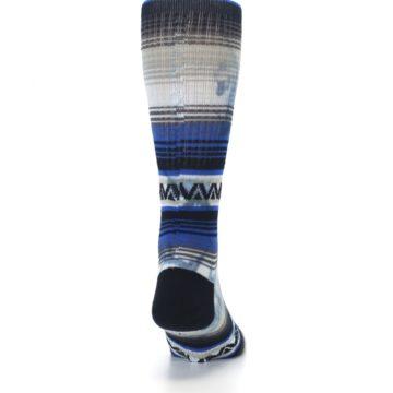 Image of Blue Gray Mexi Stripe Men's Casual Socks (back-19)