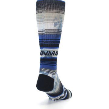 Image of Blue Gray Mexi Stripe Men's Casual Socks (side-1-back-20)