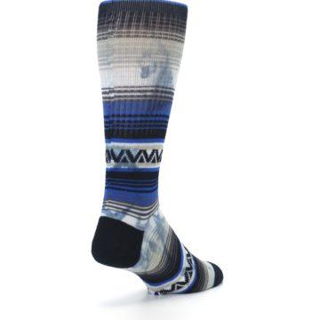 Image of Blue Gray Mexi Stripe Men's Casual Socks (side-1-back-21)