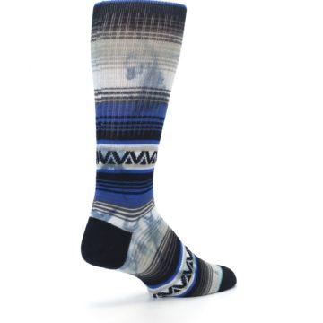 Image of Blue Gray Mexi Stripe Men's Casual Socks (side-1-back-22)