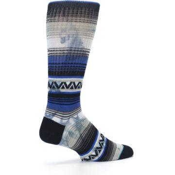 Image of Blue Gray Mexi Stripe Men's Casual Socks (side-1-23)