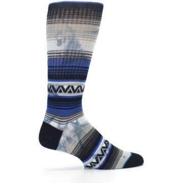 Image of Blue Gray Mexi Stripe Men's Casual Socks (side-1-24)